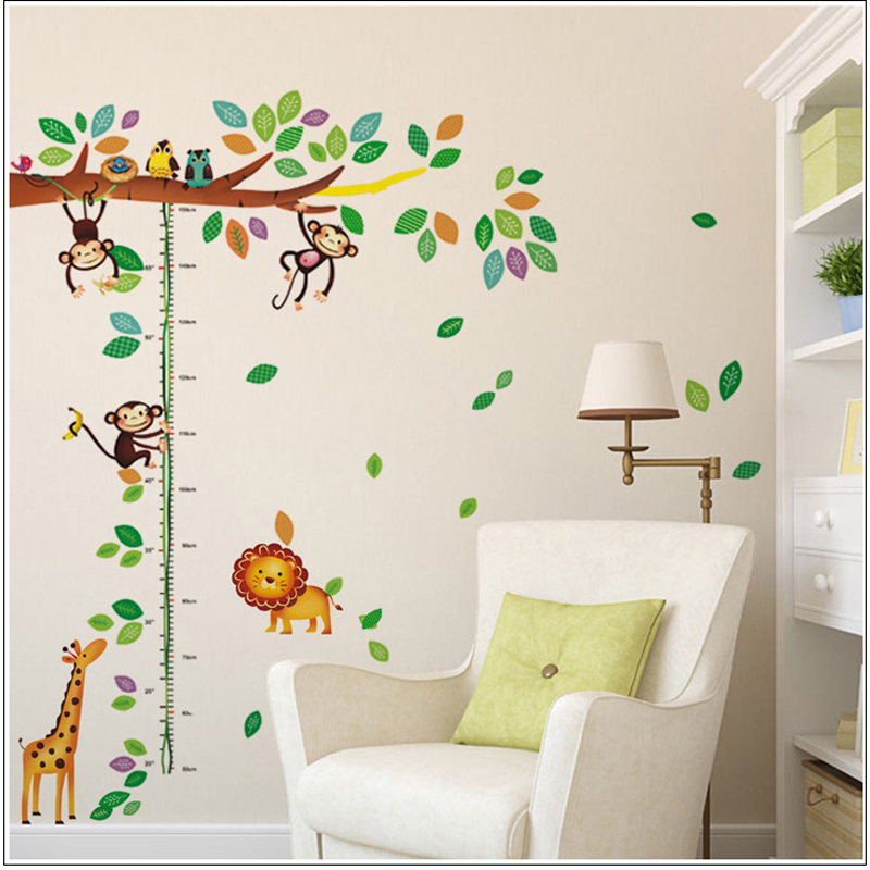 cartoon giraffe monkey trees height wall sticker baby room children bedroom wall stickers home decor wall art sticker - Monkey Bedroom Decor