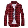 Клетчатую рубашку мужчины slim fit с длинным рукавом Camisas 2016 Весна мужская Мода красный и черный рубашка Мужчина Случайно французский манжеты рубашки