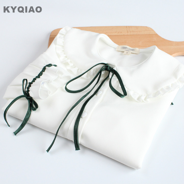 Kyqiao Cat Embroidery Shirt For Mori Girls Autumn Spring Japanese Style Fresh Cute Long Sleeve White Blue Blouse Blusa Women's Clothing