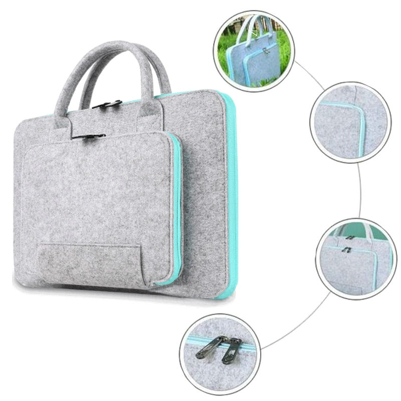 Image 4 - Wool Felt Laptop Bag For Mac 11 13 15 17 Mouse Bags Briefcase for Macbook Air Pro Retina For Lenovo Notebook Sleeve Case-in Laptop Bags & Cases from Computer & Office