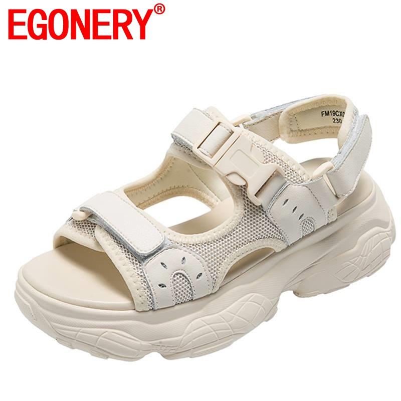 EGONERY sports casual mesh women sandals summer cool girl non slip hiking shoes black beige campus