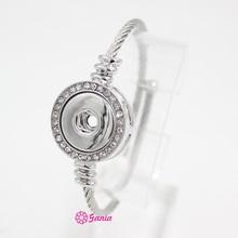 10 pièces nouveau Snap bijoux cristal Snap Base en acier inoxydable bande réglable Snap Bracelets et bracelet pour les femmes ajustement 18mm bouton bricolage