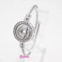 10 шт., новинка, ювелирное изделие, кристальная защелка, основа, браслет из нержавеющей стали, регулируемые браслеты и браслет для женщин, подходит для 18 мм, Кнопка DIY