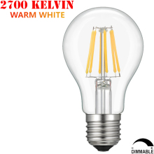 60W Incandescent Equal Medium Edison Screw Base E26 A19 8W Vintage Warm White 2700K 110V Dimmable LED Filament Light Bulb A60