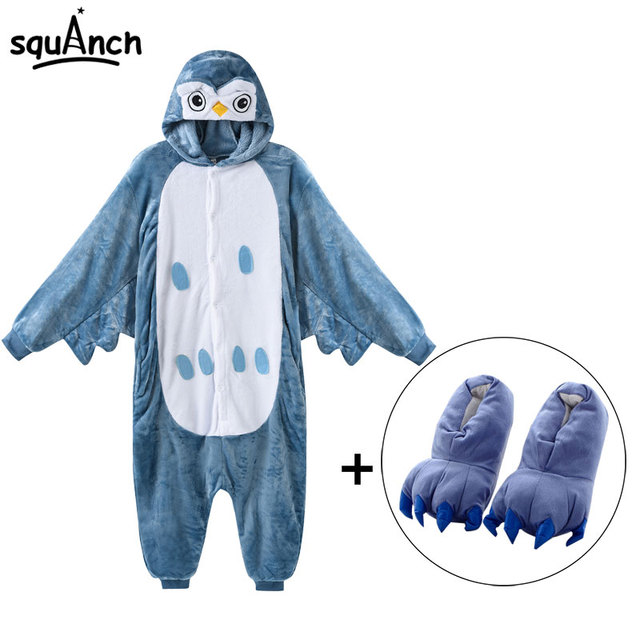 abd5f75a846e Owl Onesie With Slippers Animal Bird Kigurumi Women Men Funny Cute Pajama  Flannel Soft Warm Winter Sleep Suit Adult Overalls