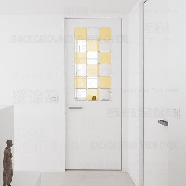 € 5.03 53% de réduction|Carré décoratif 3D acrylique miroir Stickers muraux  salon chambre salle de bain porte décor à la maison chambre décoration ...