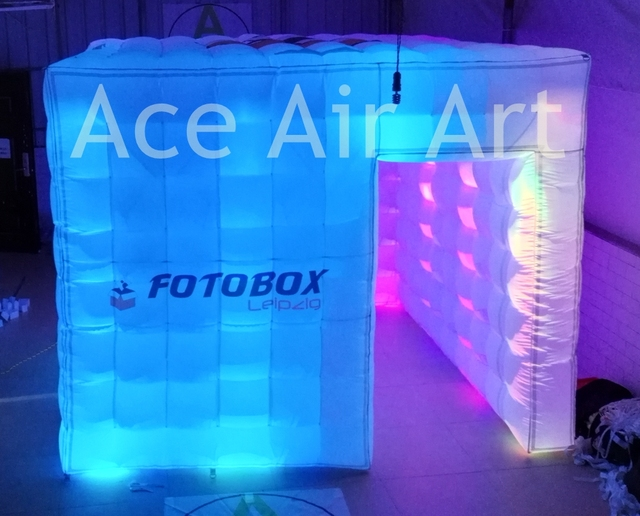 white lights cube portable inflatable photo booth enclosure for wedding party used