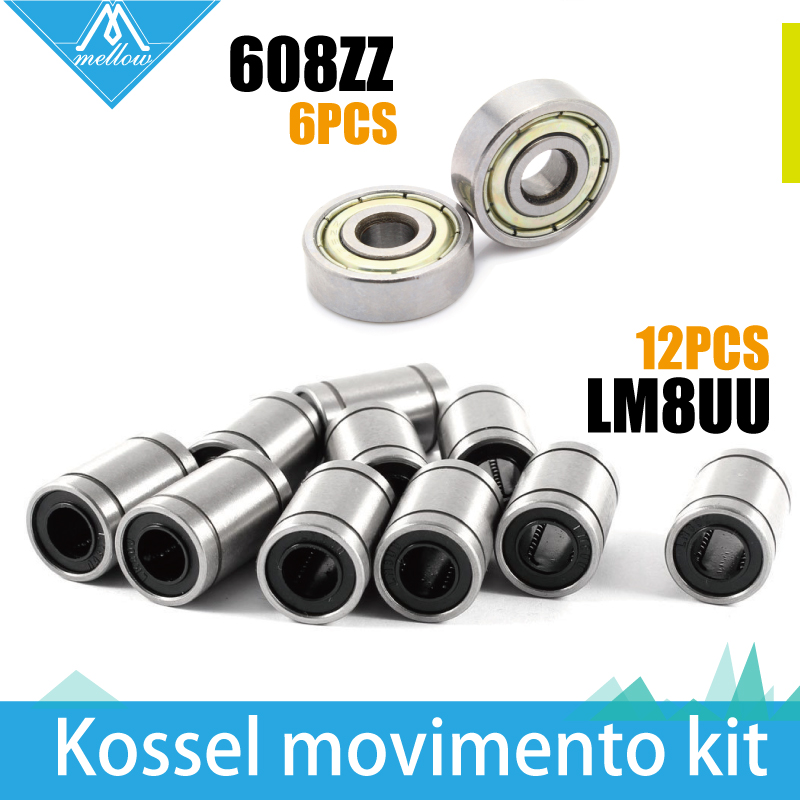 Free shipping! 12 x LM8UU 8mm linear ball bearing & 6 x 608ZZ  ball bearing Kit for Kossel Reprap Rostock Mini Delta 3D Printer