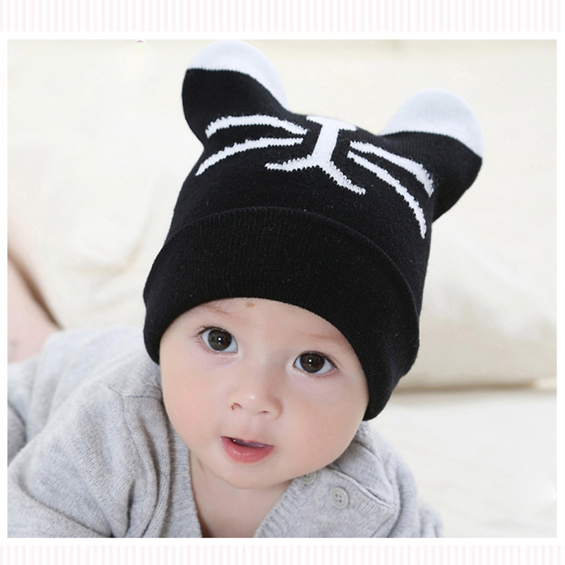 Baby Cat Hats Crochet Caps Cute Knit Headgear Infant Hat Wool Bonnet  Photography Props Winter Kid Hat Ears 2016 Baby Accessories-in Hats   Caps  from Mother ... 614d6ae2d1f