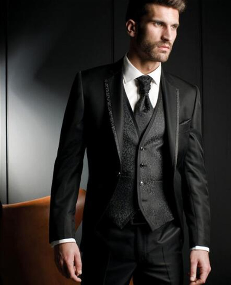 Black Harringbone Wedding Men Suits Three Piece Custom Groom Tuxedos For Evening Party Jacket Pants Vest Male Blazer