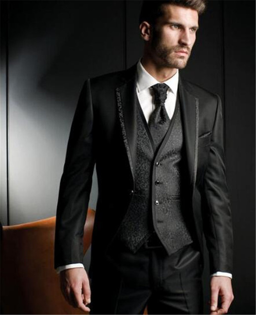 Black Harringbone Wedding Men Suits Three Piece Custom Groom Tuxedos for Evening  Party Jacket Pants Vest 0b54e0bbfa4