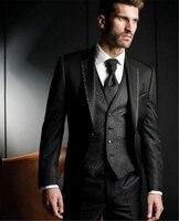 Black Harringbone Wedding Men Suits Three Piece Custom Groom Tuxedos for Evening Party Jacket Pants Vest Male Blazer