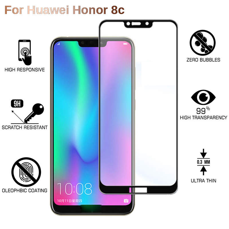 9H Full Cover Tempered Glass For Huawei Honor 8C Screen Protector Glass On Honor 8C Honor8C HD Clear Protective Film