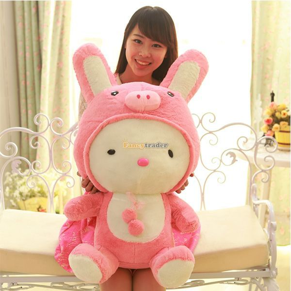 Fancytrader 28'' / 70cm Lovely Soft Giant Plush Cute Stuffed Pig Rabbit Bunny Toy, Nice Baby Gift, Free Shipping FT50796 fancytrader 2015 new 31 80cm giant stuffed plush lavender purple hippo toy nice gift for kids free shipping ft50367