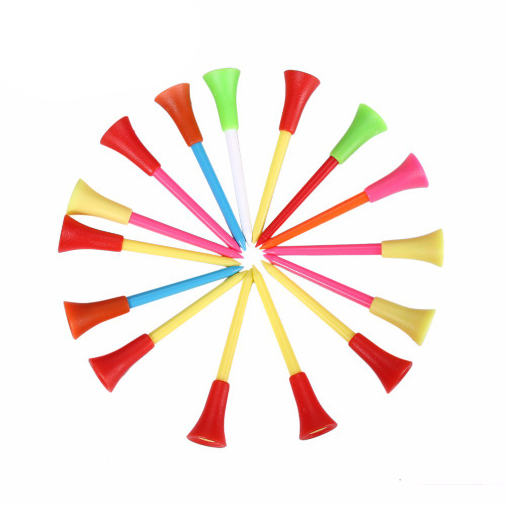Golf Tee Multi Color Plastic Golf Tees 83mm Durable Rubber Cushion Top Golf Tee Golf Accessories Color Mixing 20pcs/pack