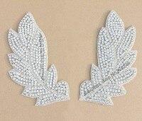 1 쌍/ lot 큰 잎 라인 스톤 목걸이 장식 맑은 크리스탈 라인 스톤 applique 신부 웨딩 드레스 의류 장식