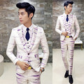 Colorful Stripe Suit 2016 New Dress Suit Groom Costume Mariage Homme Red Purple Suit Printed Slim Fit Designer Dinner Suit