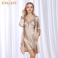 New Fashion Women Nightgown Night Dress Sexy Lace Nightdress Night Gown Silk Satin Sleepwear Nightwear Robes Bathrobe Sets WP302