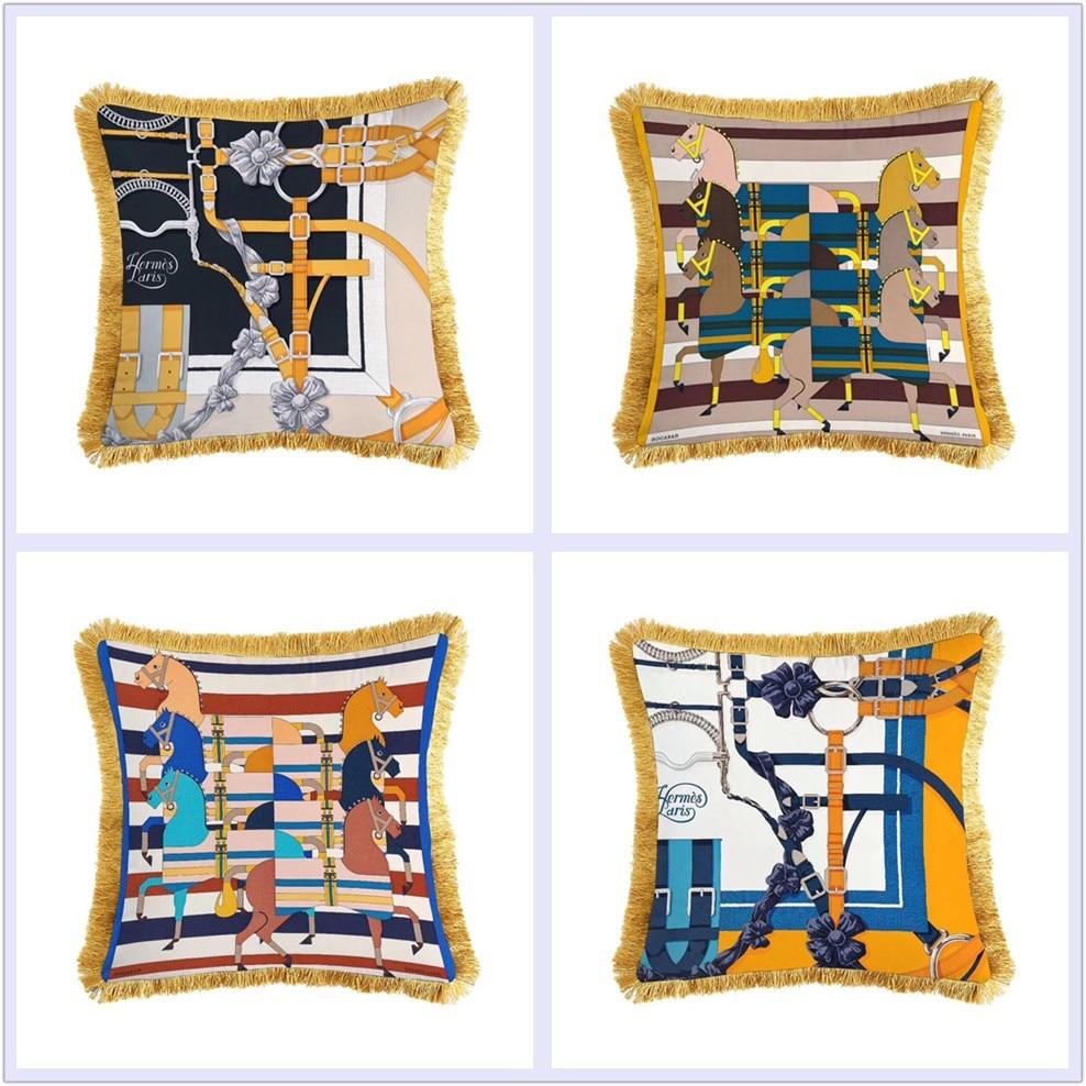 Luxury Classical Geometric Velvet Tassel Cushion Cover Printed Pillow Cover Pillowcase Home Decorative Sofa Throw Pillows Chair Cushion Cover