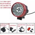 14T6 24000LM Cycling Bike Front Light 14x Cree XM-L T6 Led  Bicycle Headlight headLamp Waterproof+ 18650  Battery Pack + Charger