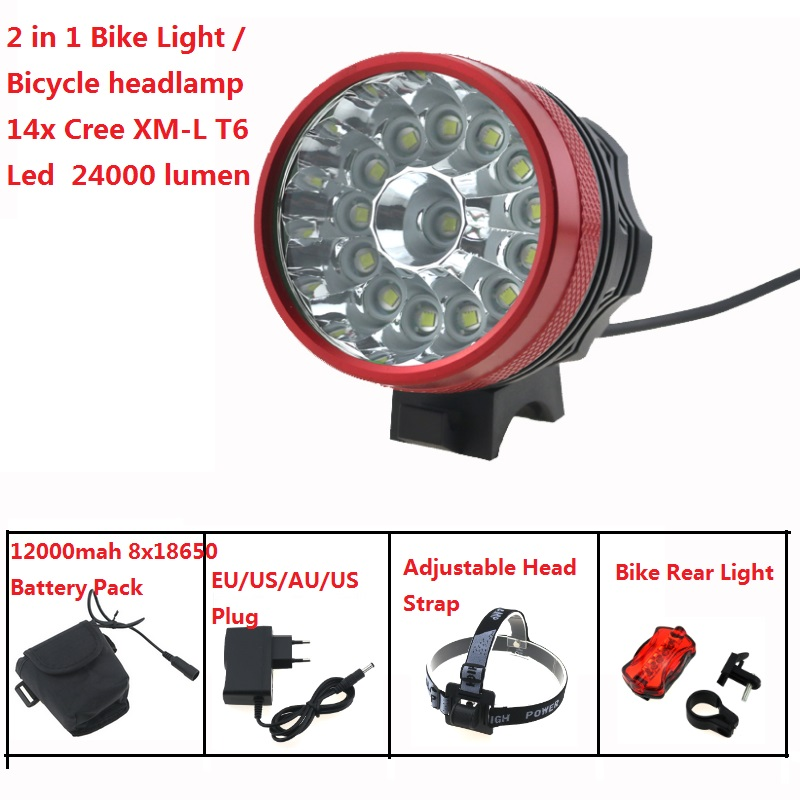 24000 Lumens Cycling Bike Light 14x Cree XM-L T6 Led Bicycle Headlight Helmet headLamp Waterproof+ 18650 Battery Pack + Charger waterproof 2000 lumen led cree xml2 u2 led cycling bicycle bike usb 18650 light lamp headlight headlamp headlight strips charger