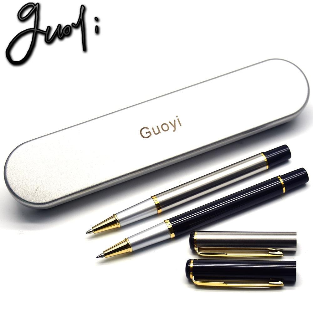 Guoyi A111 DIY hitam & putih ukiran logam balpoint pen bekalan pejabat mewah untuk hadiah alat tulis sekolah hadiah