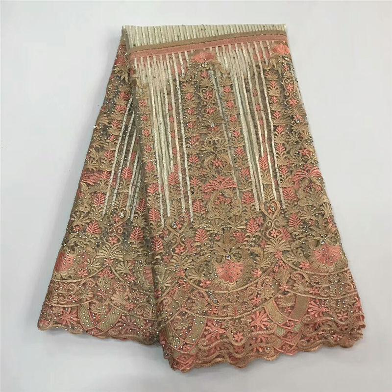 Ev ve Bahçe'ten Dantel'de Yeni gelenler 2018 şeftali nakışlı ağ dantel kumaş sıcak satış afrika fransız dantel kumaş ile taşlar için düğün elbisesi JY5 2'da  Grup 1