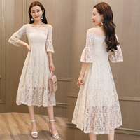 Slash Neck Off Shoulder Lace Midi Dress Fashion Thin Big Size Summer Dress Temperament Sweet Office Lady Dress Elegant