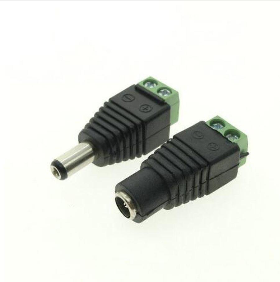 100 ×男性+ 100 ×メス2.1 × 5.5ミリメートルdc電源ケーブルジャックアダプタコネクタプラグledストリップcctvカメラを使用12ボルト  グループ上の ライト & 照明 からの コネクタ の中 1