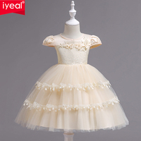 IYEAL Girls Birthday Party Dresses Elegant Floral Princess Ball Gown Tutu Dress for Weeding Kids Baby First Communion Clothes