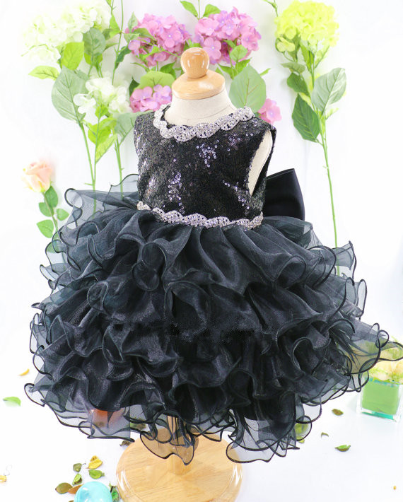 2017 black ruffle tulle ball gown baby girl dress with bow sparkly sequins beaded toddler 1st birthday party outfits