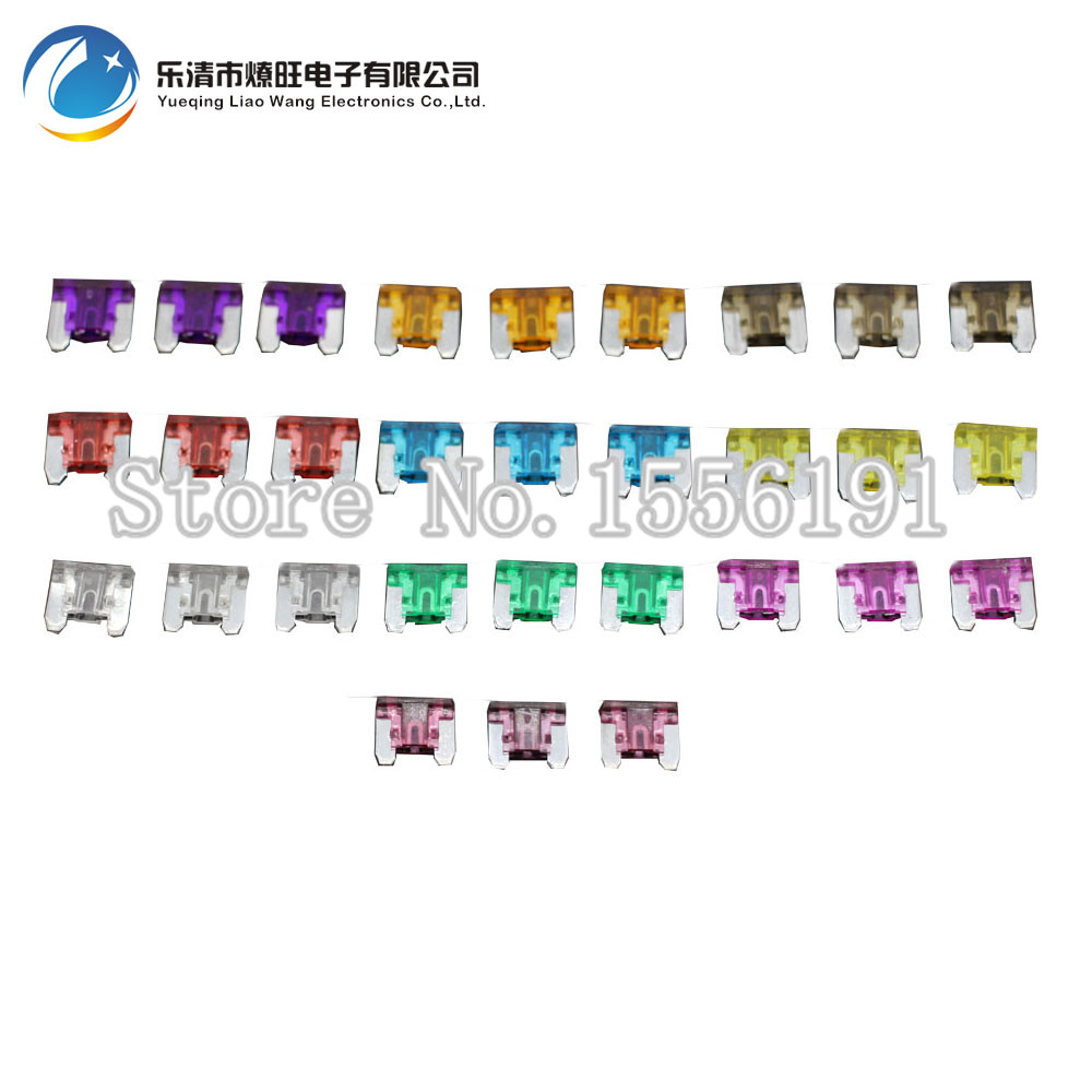 30PCS 3~40A Mini Size Auto Fuse, 3pcs For Each Specification, Automotive Fuses Blade,The Fuse Insurance Insert Lights Fuse