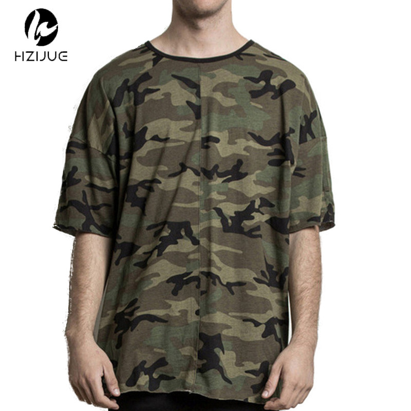d52a048e44fc HZIJUE Mens Fashion Streetwear Kpop Justin Bieber Hiphop Clothes Kanye Mens  Clothing Hipster Camouflage Oversized T Shirt Camo