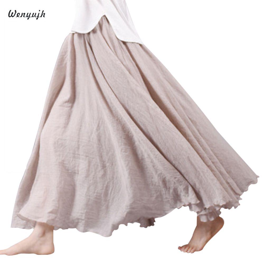 WENYUJH 2020 New Women Linen Cotton Long Skirts Elastic Waist Pleated Maxi Skirts Beach Boho Vintage Autumn Skirts Faldas Saia