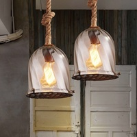 Industrial Loft Style Rope Droplight Edison Vintage Pendant Light Fixtures For Dining Room Glass Hanging Lamp Home Lighting