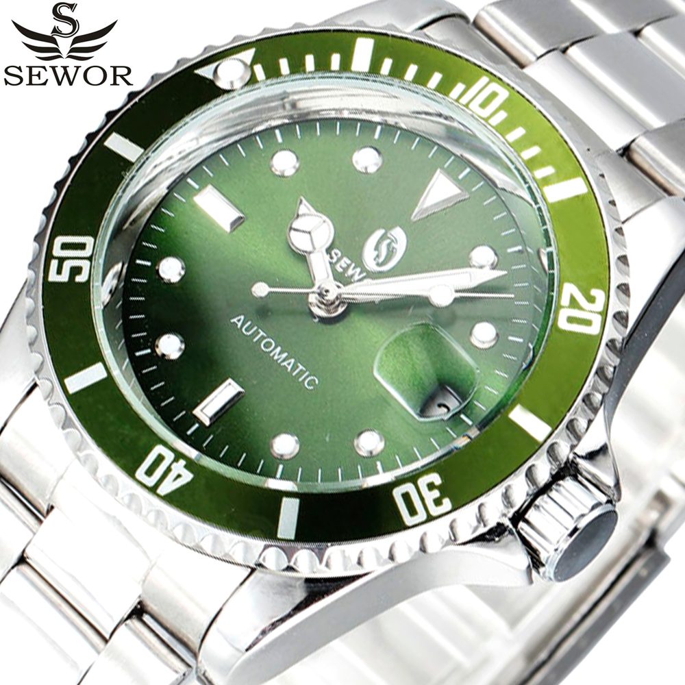 SEWOR Stainless Steel Watches Auto Date Men Top Brand Luxury Sport Automatic Mechanical Watch Clock Men Army Military Watch sewor brand sport men gold watch luxury mechanical automatic wristwatch men dress steel business fashion clock gift watch