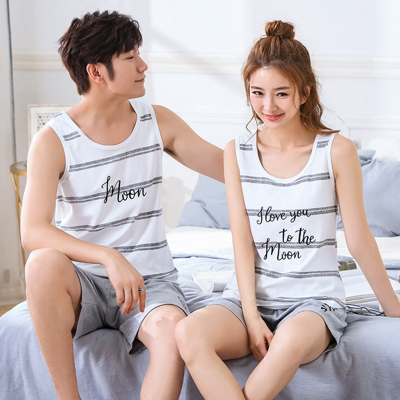 Couples 100% Cotton Sleeveless Vest   Pajamas     Sets   for Women 2019 Summer Shorts Sleepwear Suit Men Casual Striped Homewear Clothes