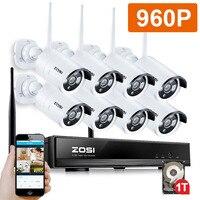 ZOSI 960P 8CH Беспроводной NVR CCTV Системы Wi-Fi 1.3MP ИК Открытый Пуля P2P IP Камера Водонепроницаемый камера наружного видеонаблюдения комплект 1 ТБ