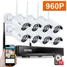 ZOSI 960P 8CH Wireless NVR CCTV System wifi 1.3MP IR Outdoor Bullet P2P IP Camera Waterproof Security Video Surveillance Kit 1TB