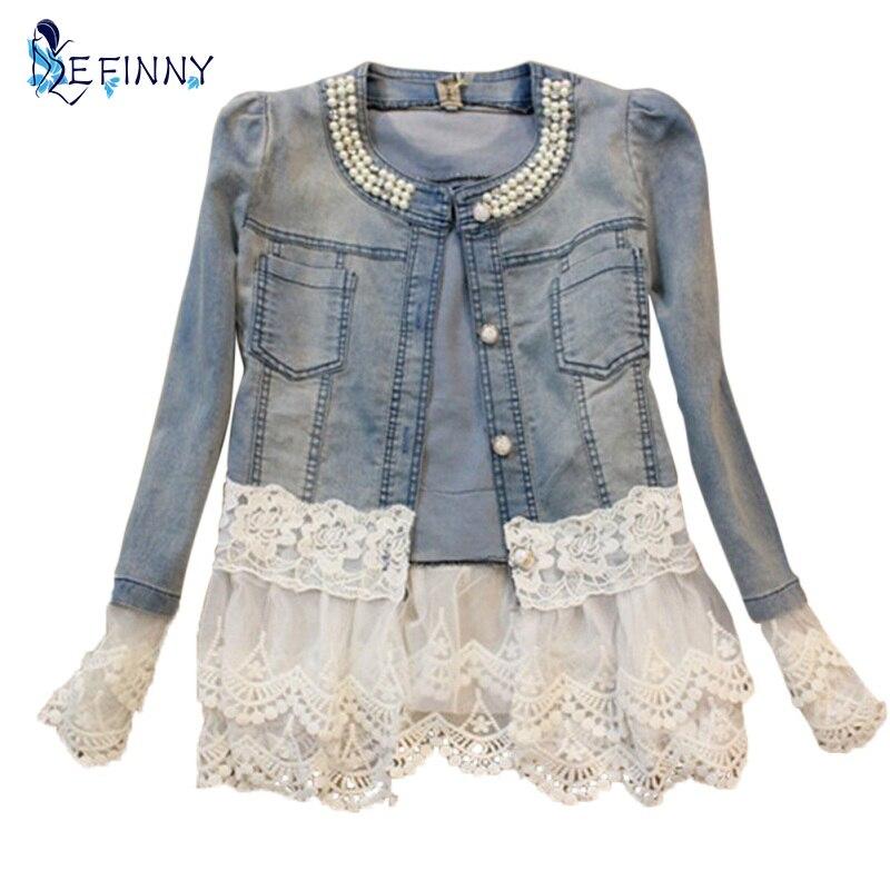2018 Stitching Lace Stitching Long-sleeved Denim Jacket Large Size Jeans Long Sleeve Women Jacket Women's Outerwear Plus size