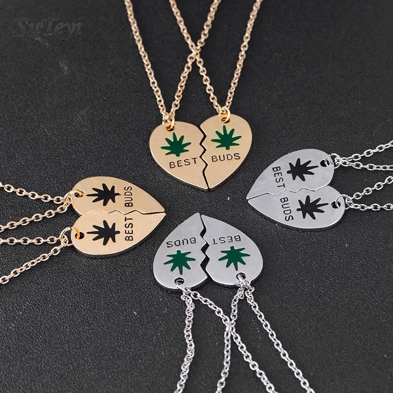 Suteyi melhores botões colar esmalte erva daninha folhas coração quebrado pingente colares melhores amigos bff jóias presentes