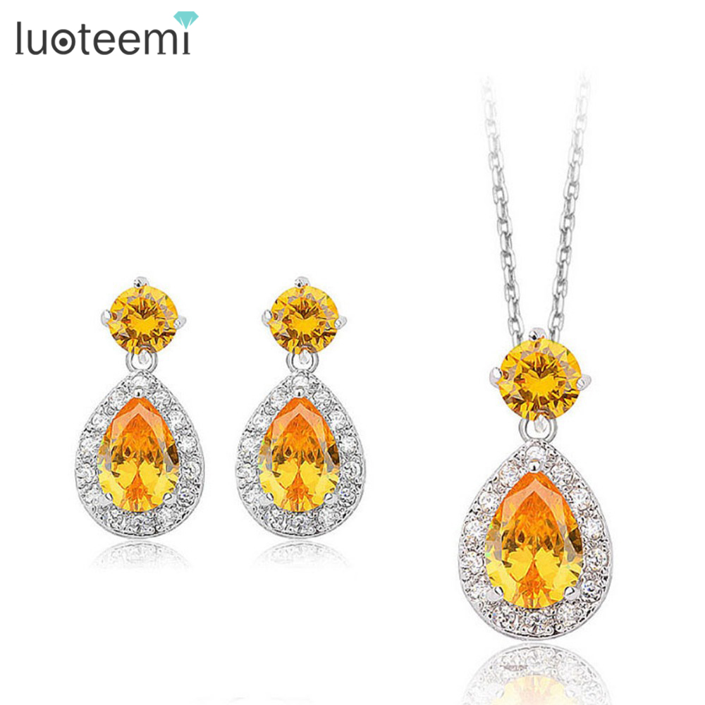 LUOTEEMI Hot Sale Luxury Women Double Heavy Water Drop Cubic Zirconia Necklace Earrings Set For Wedding Bridesmaid Jewelry