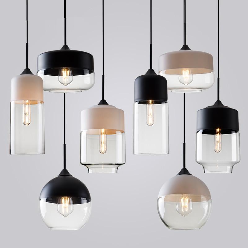 ⑦Modern Loft Pendant Lights American Vintage Metal Glass Pendant ...
