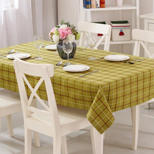 Attirant 1 Piece Linen Cotton Blending Plain Dyed Crosshatch Plaid Table Cloth Table  Linen End Table 6