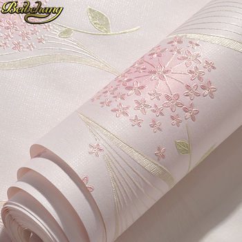 beibehang Warm pastoral non-woven self-adhesive wallpaper simple bedroom 3D stereo living room TV background wall paper beibehang fine pressure continental garden 3d three dimensional non woven wallpaper warm bedroom living room full shop