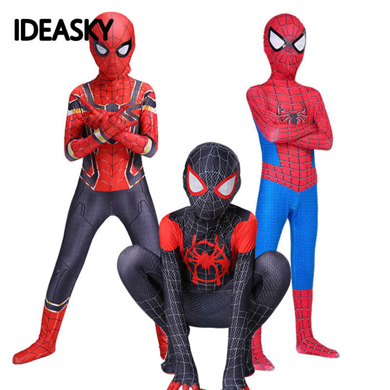 Black the amazing Spiderman Costume iron spider Man Suit Spider-man Costumes Adult Children Kids Cosplay Clothing Superhero boys