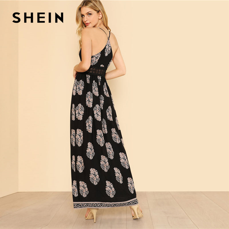 674f644b87 SHEIN Lace Waist Split Front Cami Dress Women V Neck Spaghetti Strap  Sleeveless Maxi Dress 2018 Summer Tribal High Waist Dress-in Dresses from  Women's ...