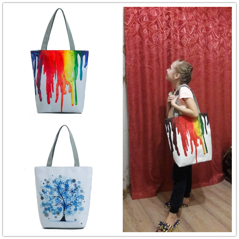 Miyahouse Harajuku Style Colorful Painting Shoulder Bag Women Large Capacity Shopping Bag Female Casual Tote Handbag 3
