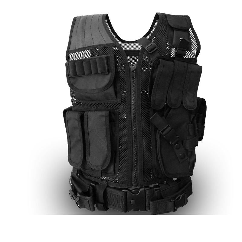 Multi - functional tactical vest summer ventilation network black combat vest CS fans field protection equipment