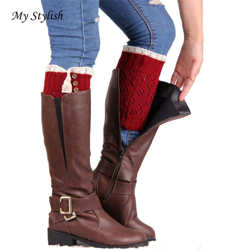 1 Pair Women Lace Stretch Boot Leg Cuffs Boot Sock Winter Women Brief Paragraph Coarse Comfortable Soft Socks High Quality Dec 1